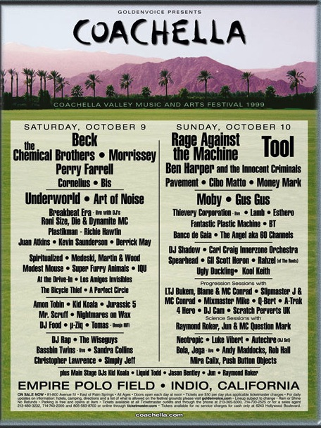 Line Up for first Coachella