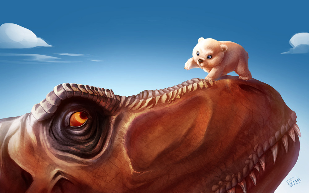 t_rex_and_the_polar_bear_cub_by_khaamar-d2zdgs6 (1)