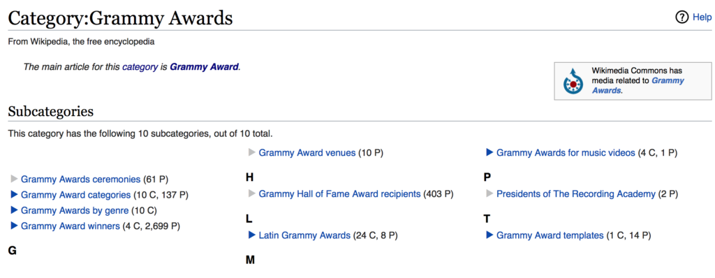 Wikipedia subcategories